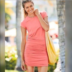 Athleta Topanga S T-Shirt Dress Coral Ruched